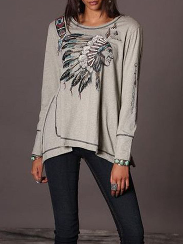 Boho Printed Long Sleeve Cotton-Blend Shirts & Tops