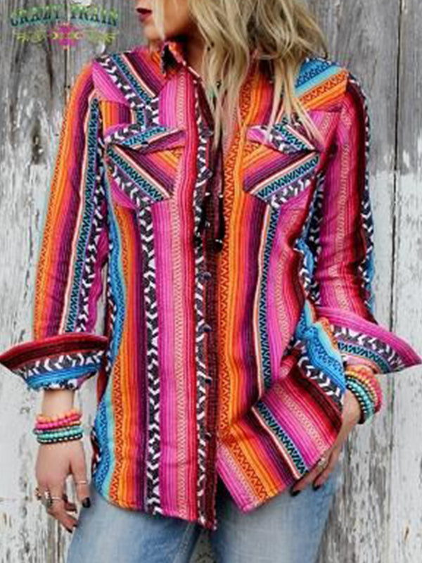 Multicolor Boho Shirt Collar Color-Block Striped Shirts & Tops