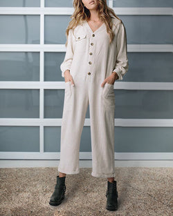Daily Casual Buttoned Long Sleeve One-Pieces