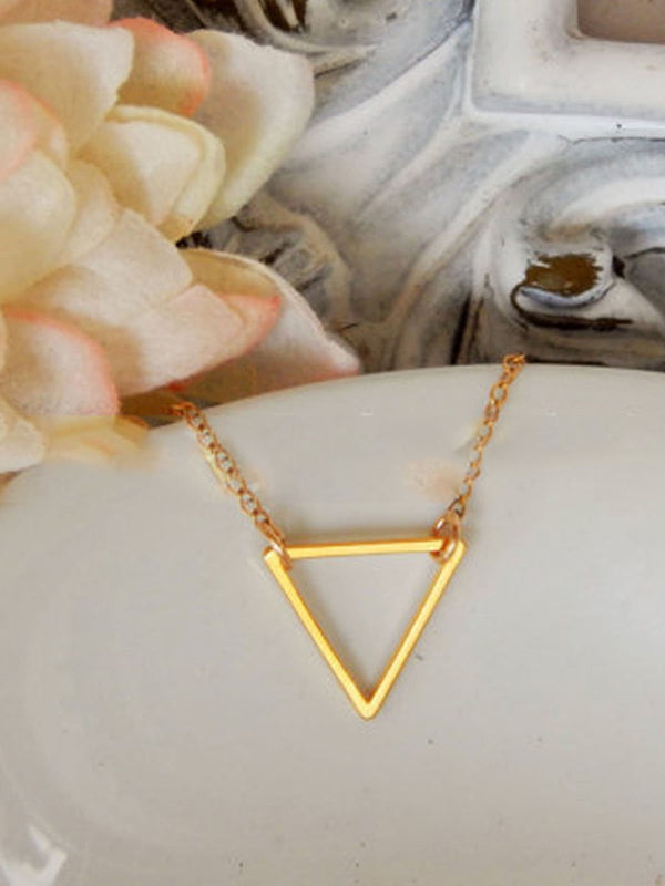 Golden Womens  New Triangular Necklaces