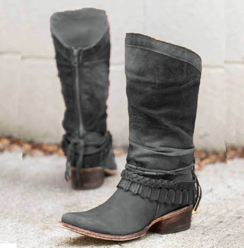 Women Casual Mid-Calf Zipper Low Heel Pu Boots
