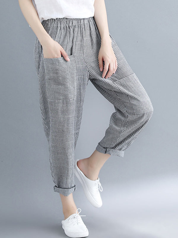 Stripe Sports & Outdoor Paneled Loose Harem Casual Pants