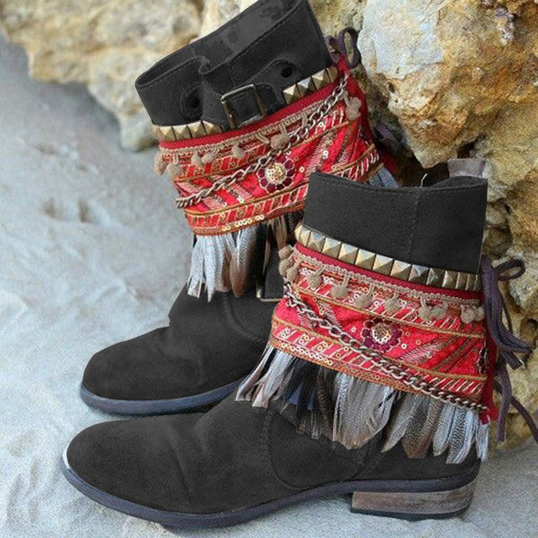Women Retro Slide Tassel Artificial Suede Casual Boots
