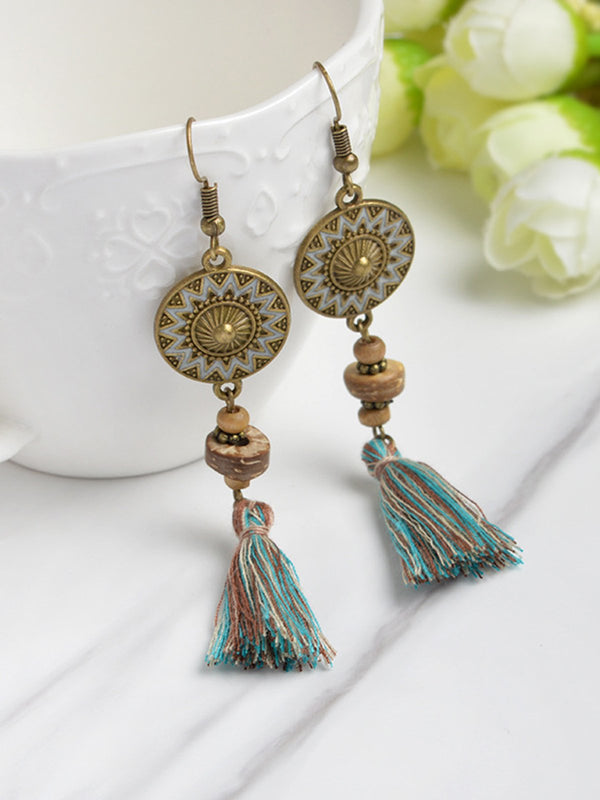 Womens Tassel Alloy Round Pendant Earrings