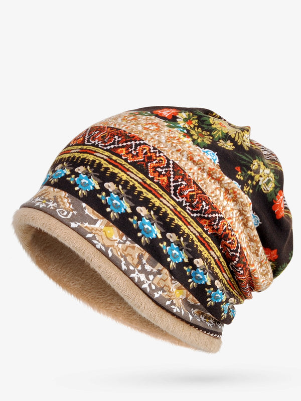 Retro Tribal Printed Cotton Fleece Dual Use Scarf Beanie Hat