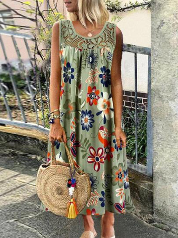 Floral Casual Crew Neck Dress