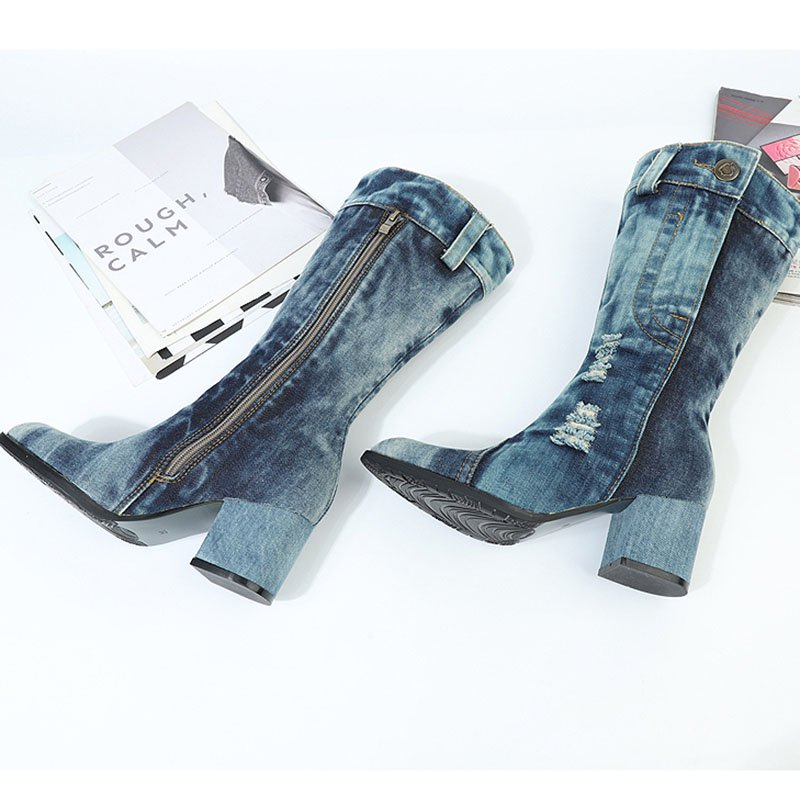 Women's casual denim chunky boots