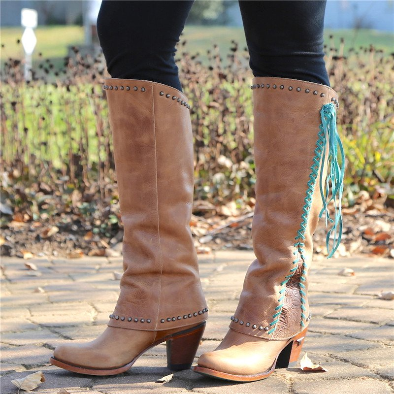 Women Vintage Slip-On Tassel Rivet Mid-Calf Boots