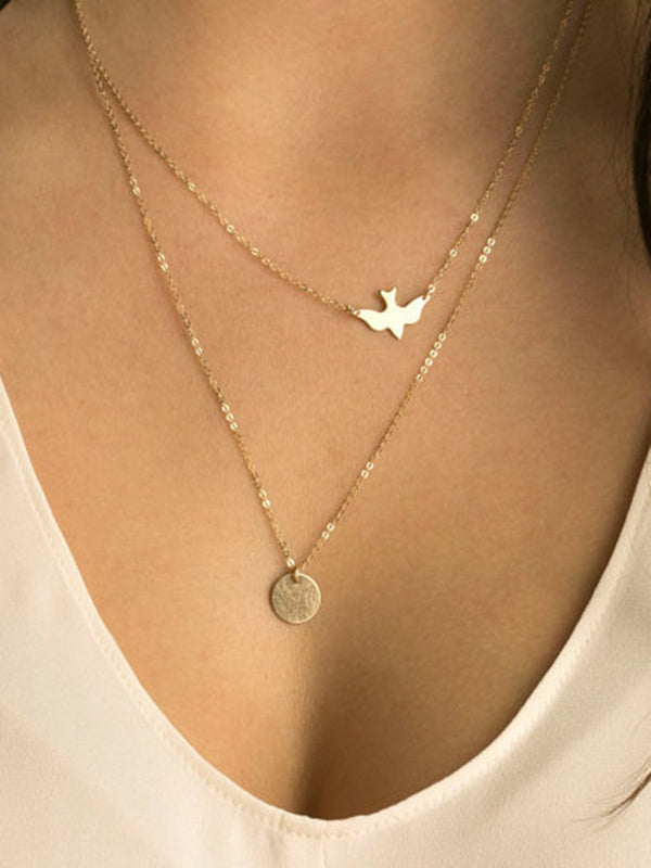 Women Double-layer Alloy Necklaces