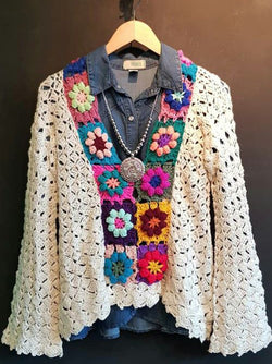 Multicolor Cotton Knitted Long Sleeve Floral Tops