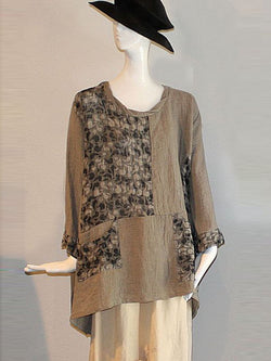 Women Gray Long Sleeve Round Neck Floral Linen Shirts & Tops