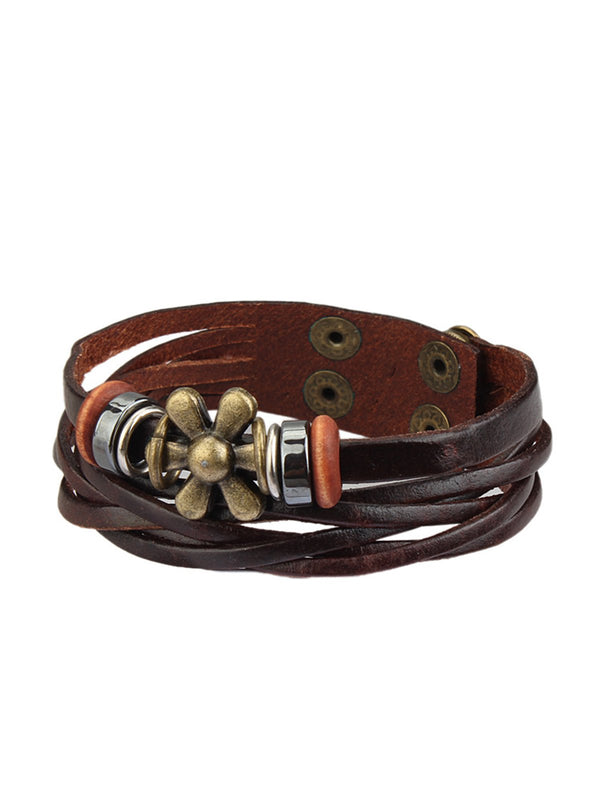 Womens Leather Flower Bracelets