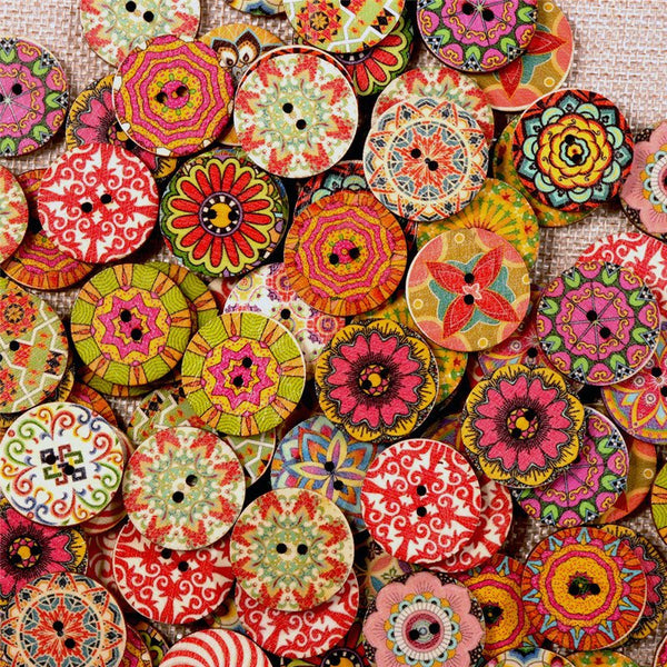 100 Pcs Flower Wooden Buttons Round Colorful Washable Decorative Sewing Buttons Handcraft Supplies
