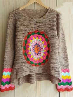 Vintage Floral Knitted Crew Neck Long Sleeve Sweater