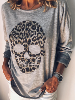 Grey Long Sleeve Cotton-Blend Shirts & Tops