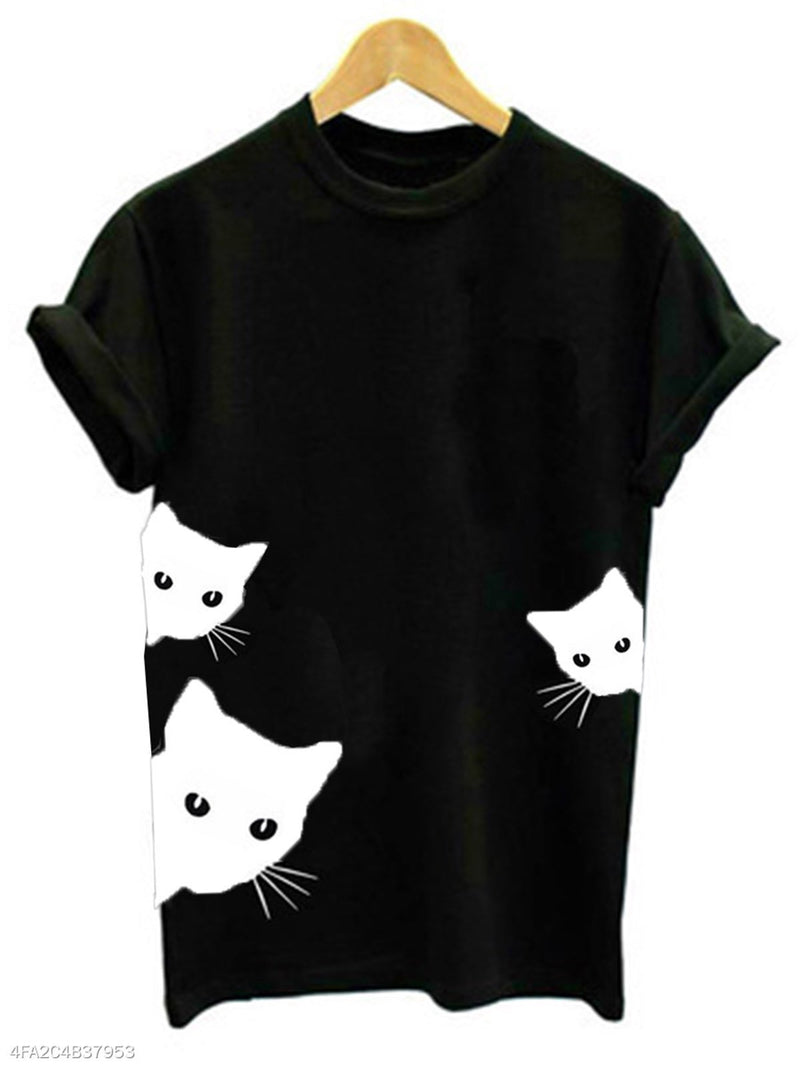 Plus Size Meows Print Women Summer T-shirts