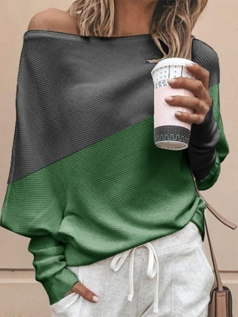 Color-Block Batwing Long Sleeves Casual Chic T-Shirts