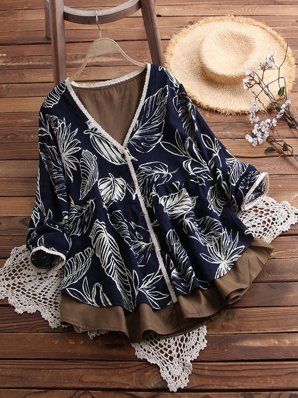 Plus Size Leaf Print Loose Fit Button Women Tops
