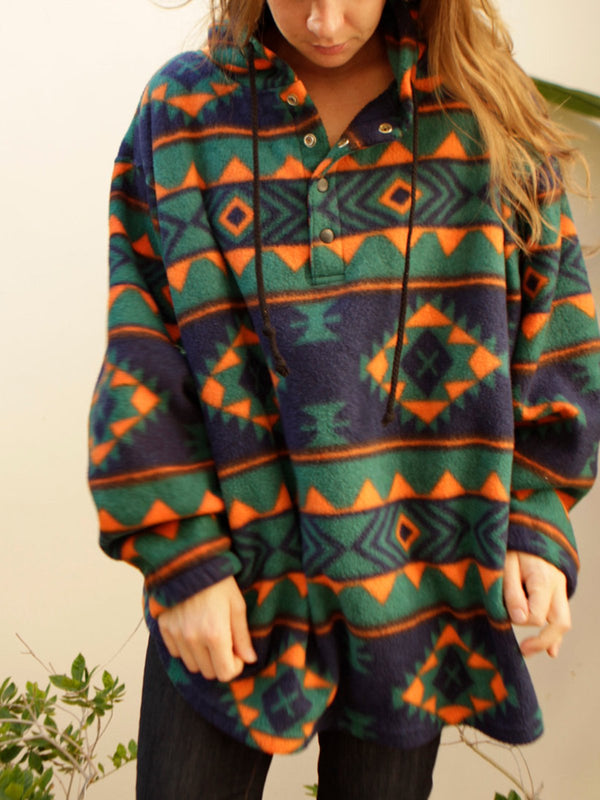 Plus Size Aztec Print Women Oversized Hoodies