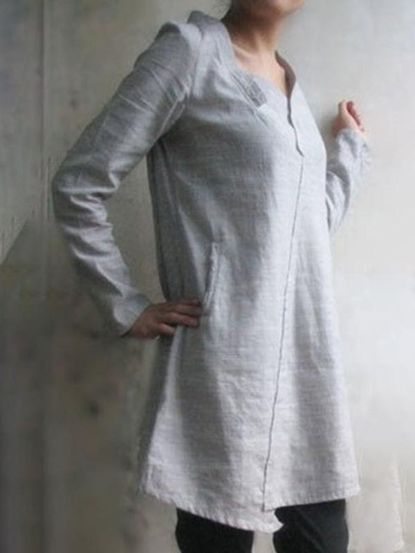 Gray Women Dresses Shift Daily Plain Dresses