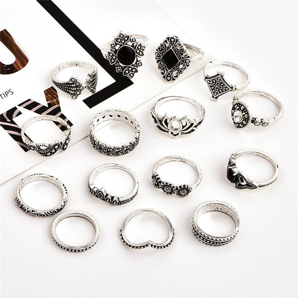 Bohemian Retro Crystal Silver Ring Set of 15