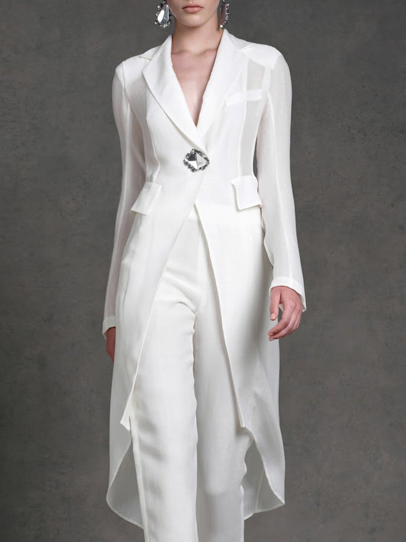 White Elegant Asymmetric Top With Pants Two-piece Set