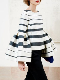 Frill Sleeve Sheath Striped Statement Top