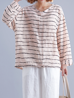 Linen Long Sleeve Crew Neck Plus size Tops