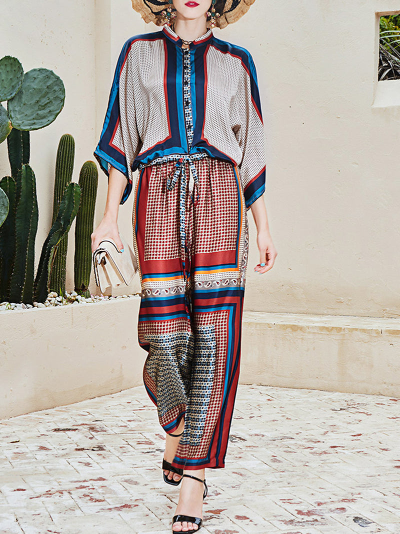 Multicolor Holiday Shift Top With Pants Set