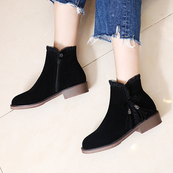 Zipper Holiday Winter Pu Boots