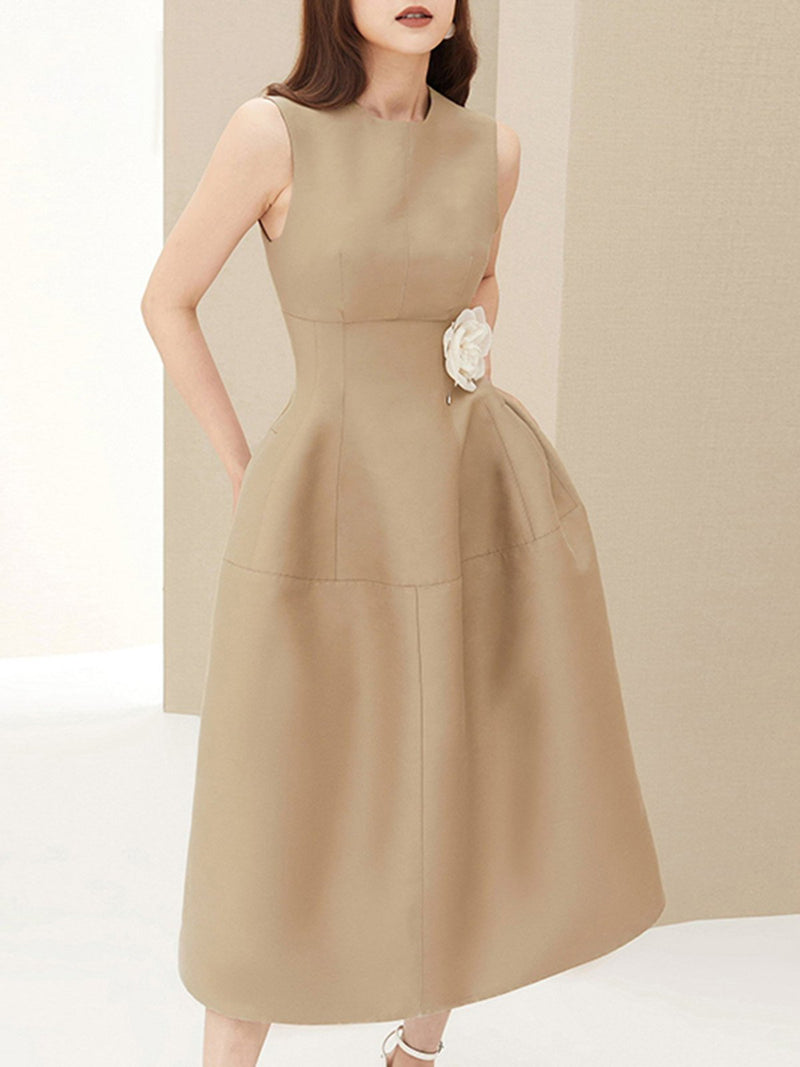 Khaki A-Line Simple Pockets Midi Dress