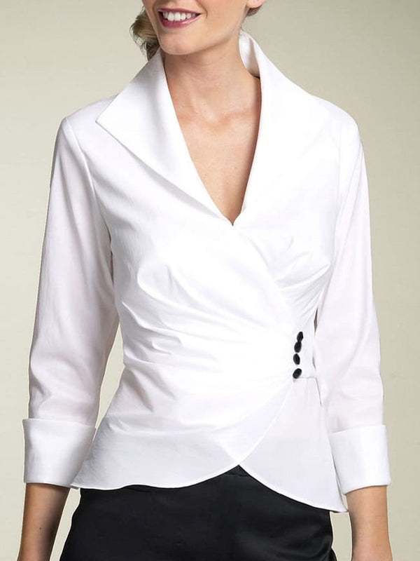 White Long Sleeve Knot Front Work Top