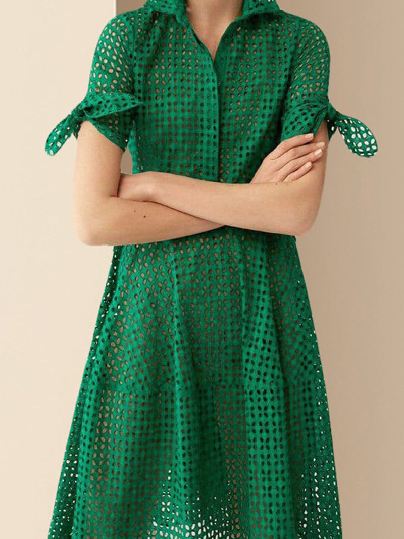 Green Daily Eyelet Midi Dress
