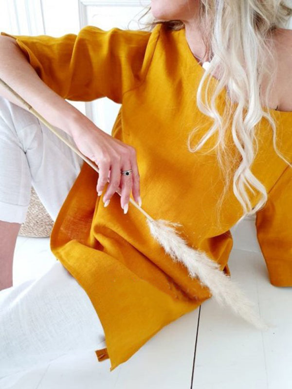 Yellow Crew Neck Casual Long Sleeve Cotton-Blend Shirts & Tops