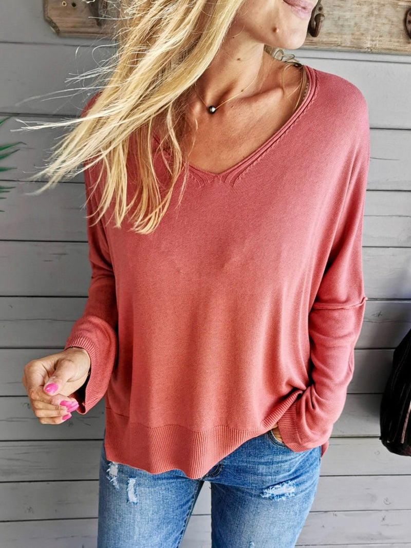 Red Crew Neck Cotton-Blend Long Sleeve Shirts & Tops