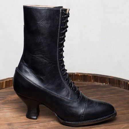 Stiletto Heel Spring/fall Lace-Up Boots