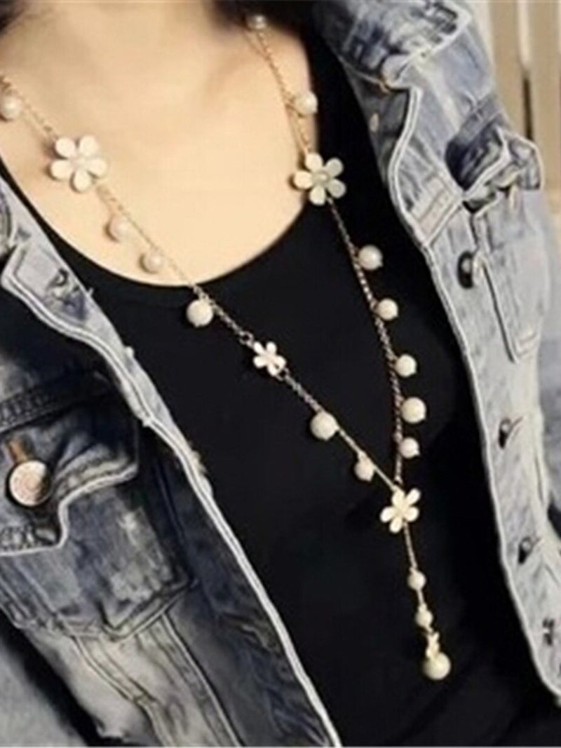 Women Flowers Alloy Necklaces