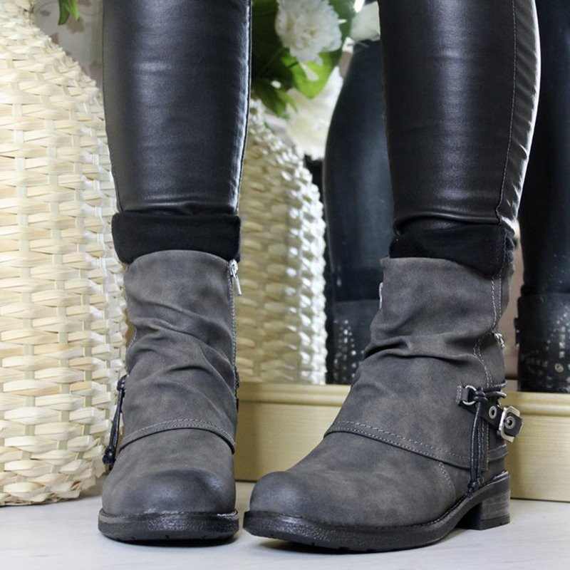 Women Round Toe Pu Casual Fall Zipper Ankle Boots