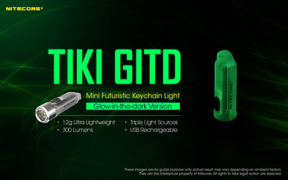TIKI GITD (Glow In The Dark Rechargeable Keychain Light)