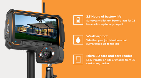 SurveyCam™️ designed for building inspectors, roofers, building service contractors, speciality cleaners, security professionals and  more