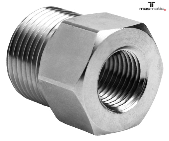 Mosmatic fitting VER 4000 psi brass nikel plated female M21X1.5QV to Male M22X1.5QV 52.222