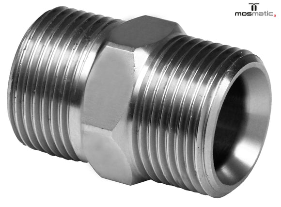 Mosmatic fitting VER 4000 psi brass nikel plated Male M22X1.5QV to Male M22x1.5QV 52.229