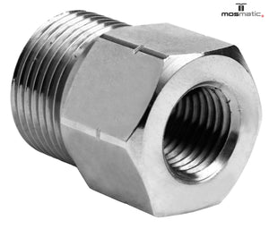 Mosmatic fitting VER 7000 psi brass nikel plated Male G1/4in to Male G3/8inM 51.004