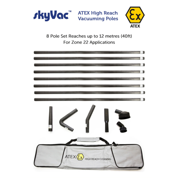 SkyVac® ATEX Push Fit Carbon Fiber Pole Set - Combustible Environments