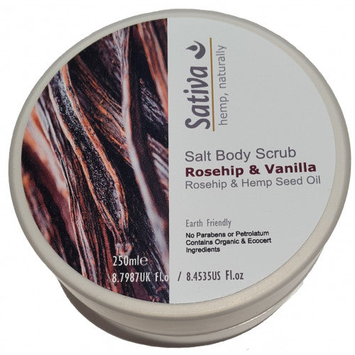 Hemptons' Sativa Salt Body Scrub Rosehip & Vanilla 250ml