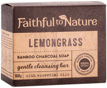 Load image into Gallery viewer, Faithful to Nature Bamboo Charcoal Soap Lemongrass