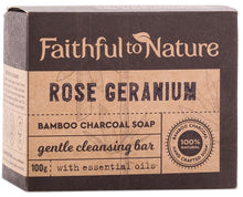 Load image into Gallery viewer, Faithful to Nature Bamboo Charcoal Soap Rose Geranium