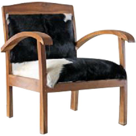 310081	MABESEE armchair with White/Black Goat Hide W/Blond Wood