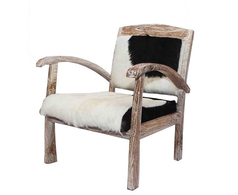 321071	Belinda Sedan Chair - Black/White Hide with White wash wood