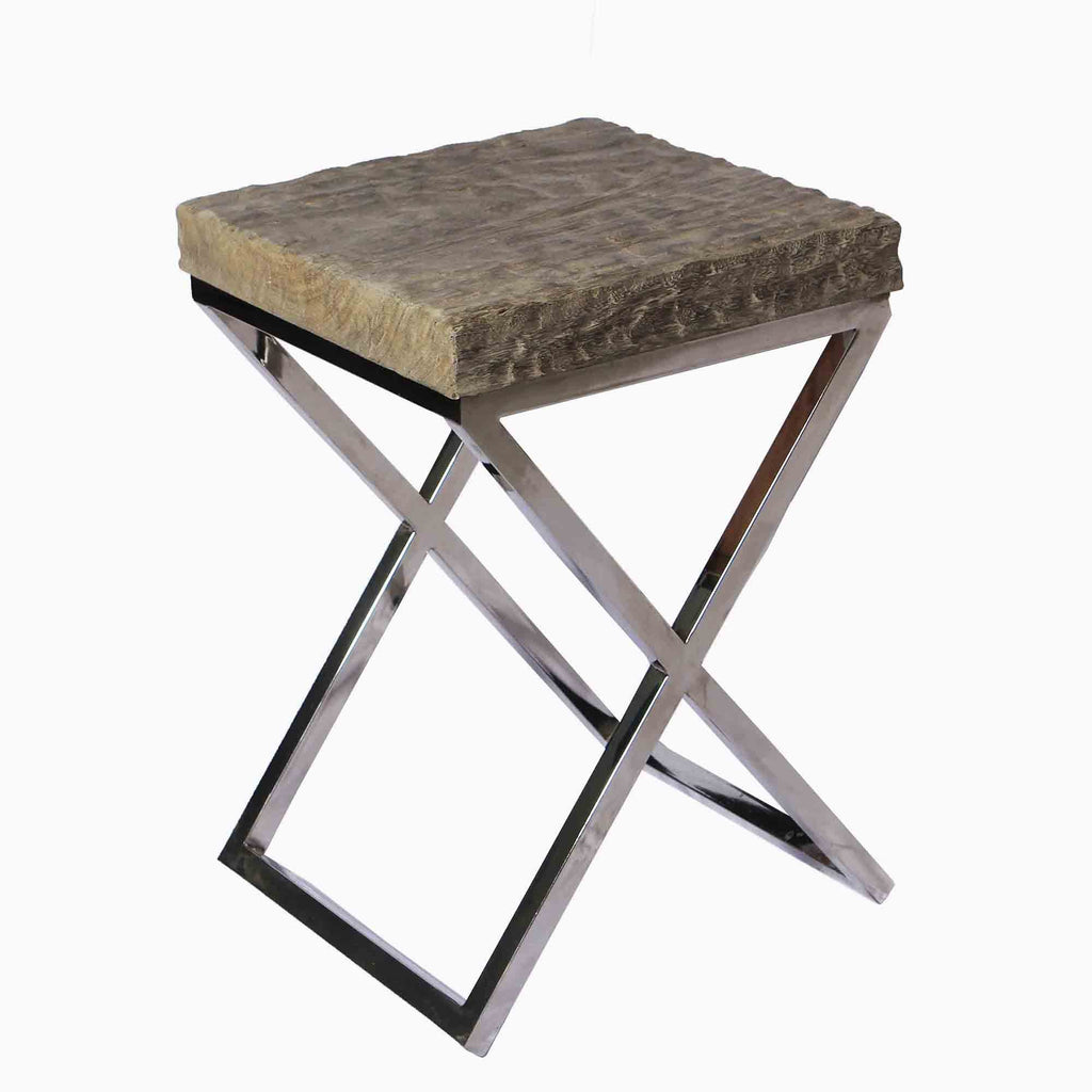 321264 Rocky Side Table - Suar wood & Stainless Steel table